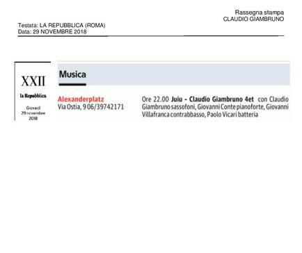 20181129_La Repubblica (Roma)_Claudio Gi