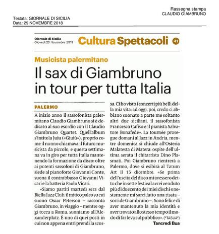 20181129_Giornale Di Sicilia_Claudio Gia