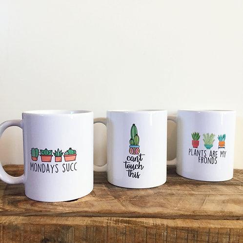 Punny Ceramic Plant Mugs