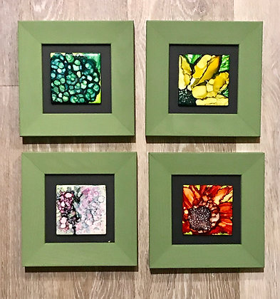 Alcohol Ink: Blooms ( Hydrangea, Sunflower, Iris, Gerber)