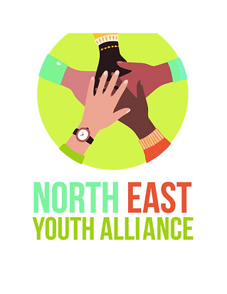 North East Youth Alliance Logo. 5 hands on top of each other in a circle