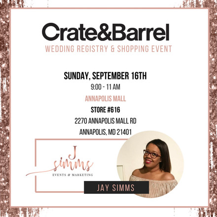 Crate & Barrel Wedding Registry Event Featuring J. Simms Events!