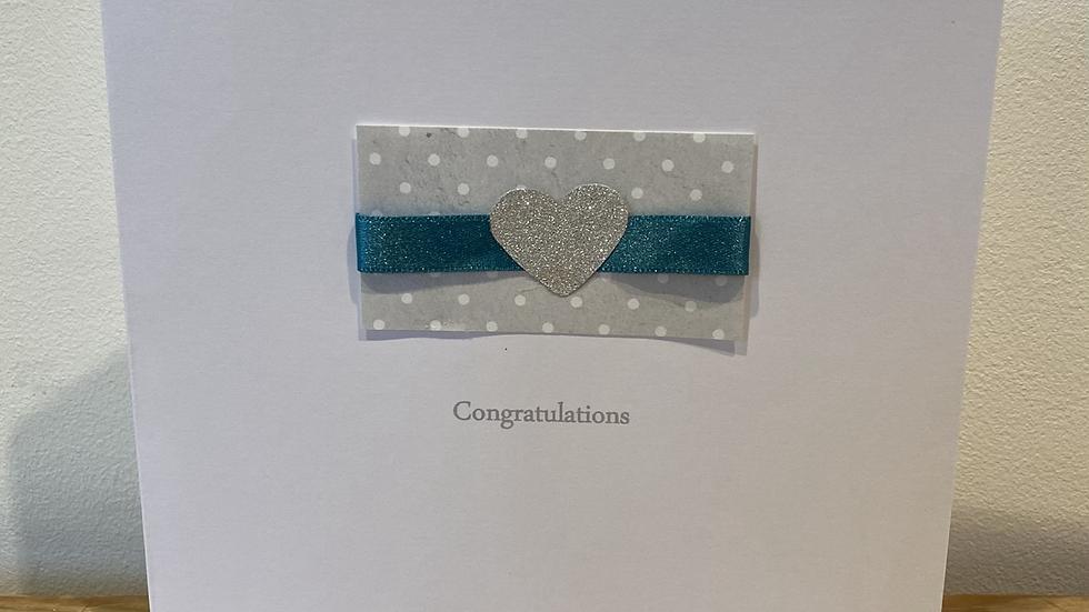Congratulations - Grey Silver Heart