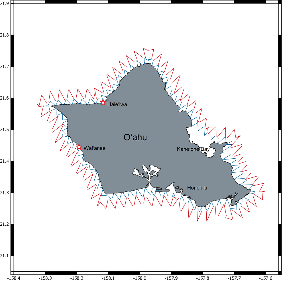 Grey map of O`ahu, Hawai`i, on a white background. The map has red and blue zig zags running the circumference of the coast.