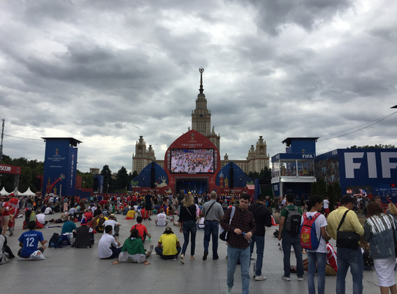 The main public viewing location in Moscos in front of the Moscow State University