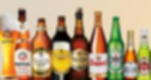 vários tipos de cervejas: heineken, cerpa, duvel, stella artois, etc.