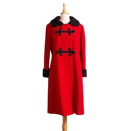 Front View of Red Wool Coat with Black Persian Lamb Collar