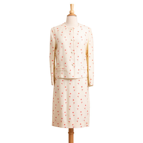 1960s White and Pink Floral Skirt Suit Front View