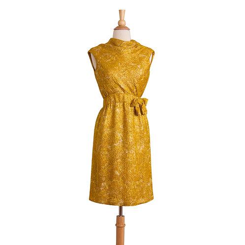 vintage gold leaf cocktail dress with cowl neckline front view