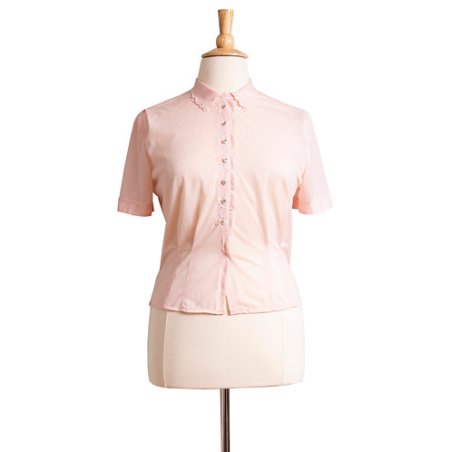 1950s Pink Nylon Blouse by Baroness