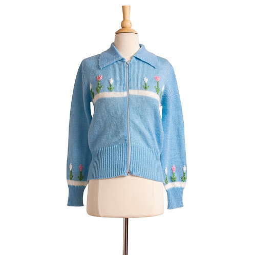 1970s Blue Zip-Up Embroidered Cardigan