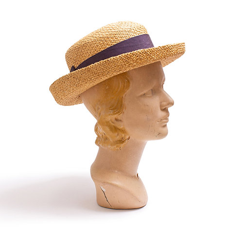 1980s Straw Boater-Style Hat by Brooks Brothers
