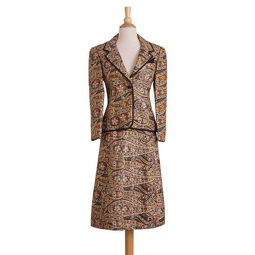 1960s gold brocade skirt suit with brown piping front view