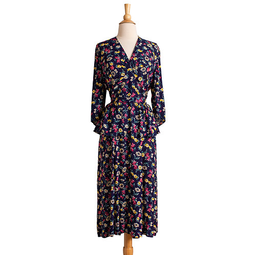 1940s Navy Blue Floral Rayon Dress