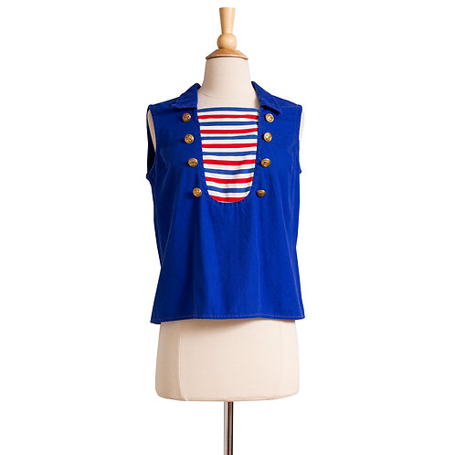 1960s Nautical Cotton Tank Top