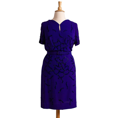 1940s Beaded Purple Rayon Dress by Eisenberg Originals