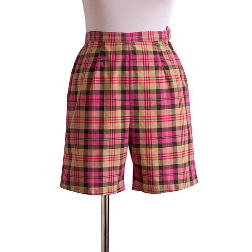 Front View of 1950s Pink and Yellow Plaid Shorts