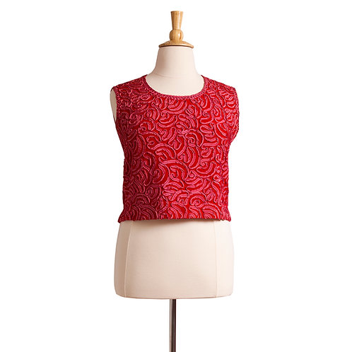 1960s Red Knit Top with Soutache Ribbon Detail
