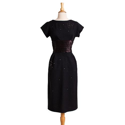 1950s Black Sheath Dress with Rhinestones and Studs
