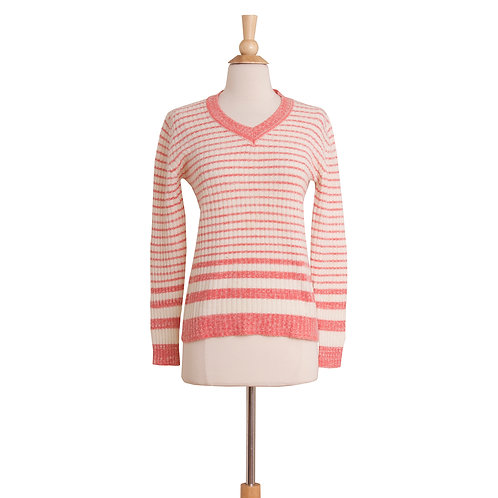 vintage pink and white striped V-neck sweater front view