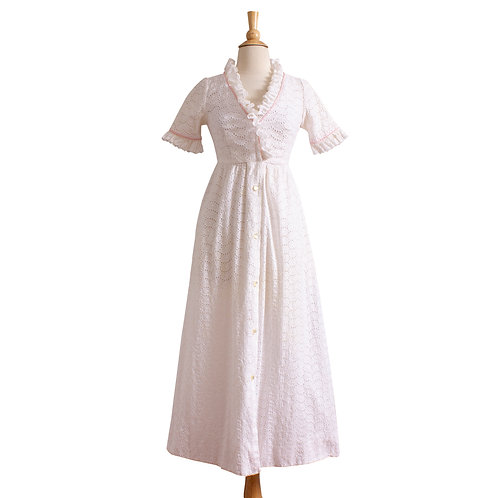 1950s Cotton Eyelet Full Length Dressing Gown Styled by Dorian