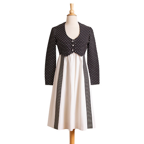 Front View of Vintage Black and White Empire Dress