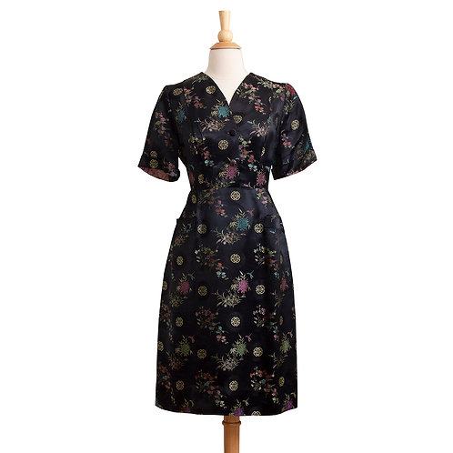 Front View of 1940s Black Asian Brocade Sheath Dress
