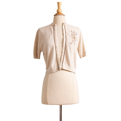 1960s Beige Open Cardigan with Floral Applique