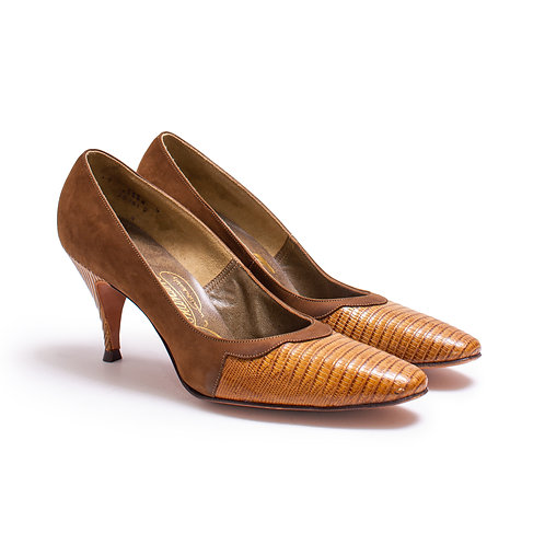 1960s Sienna Brown Leather Pumps by Johansen