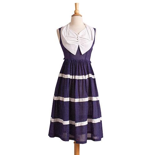 1950s Blue and White Polka Dot Dress