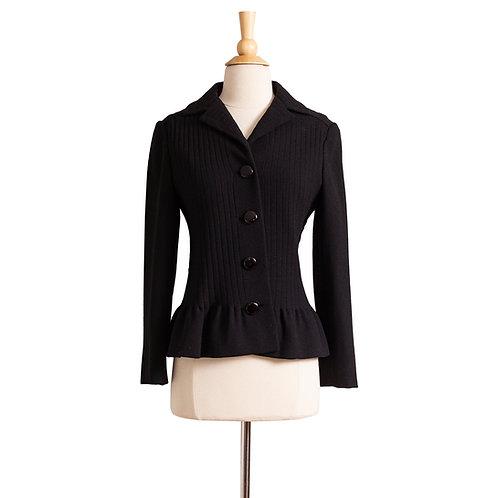 1960s Black Crepe Wool Jacket by Pierre Cardin