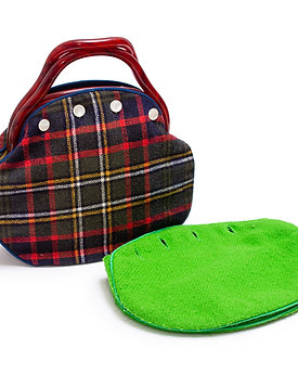 1970s Bermuda Bag With Plaid and Green Cover