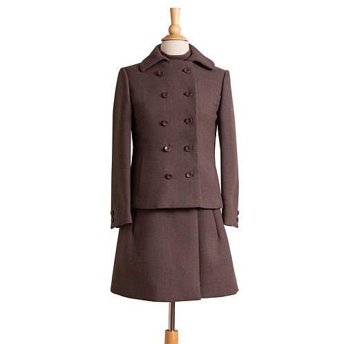 Front View of Gray-Brown 1960s Double-breasted Jacket and Dress