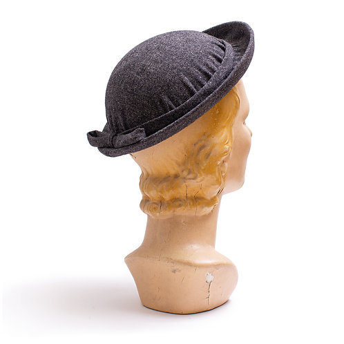 1940s Charcoal Gray Wool Hat