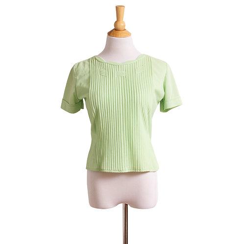 1950s-1960s Pastel Green Nylon Blouse