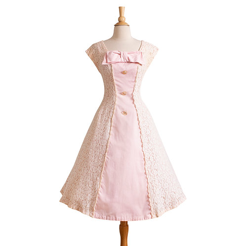 1950s Pink and White Lace Party Dress