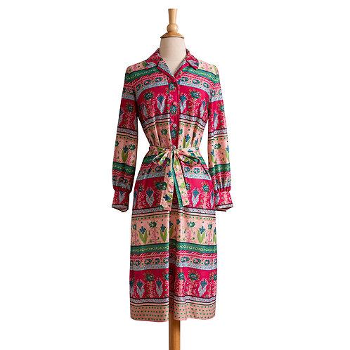 1970s Jersey Floral Shirt Dress