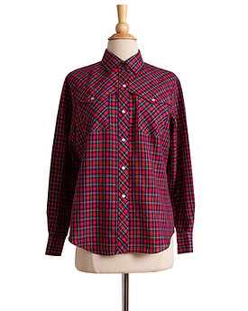 1980s Plaid Snap Button Blouse by Cheryl Tiegs