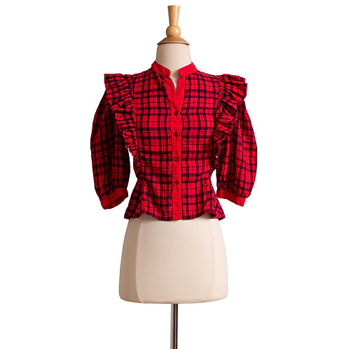 1970s/1980s Red and Black Plaid Blouse