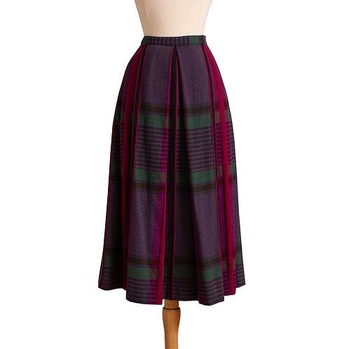 1980s Pleated Plaid Midi Skirt