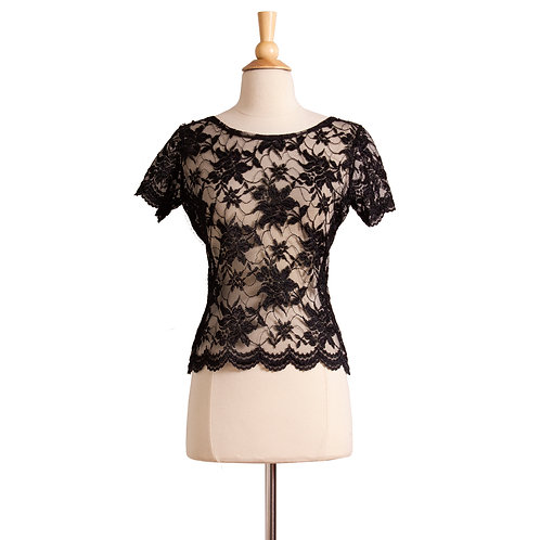 1980s-1990s Sheer Black Lace Top