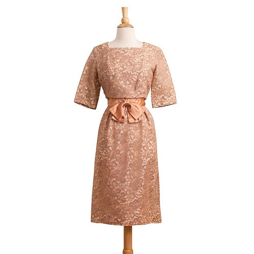 1960s Rose Lace Evening Dress with Bow at Waist, Front View