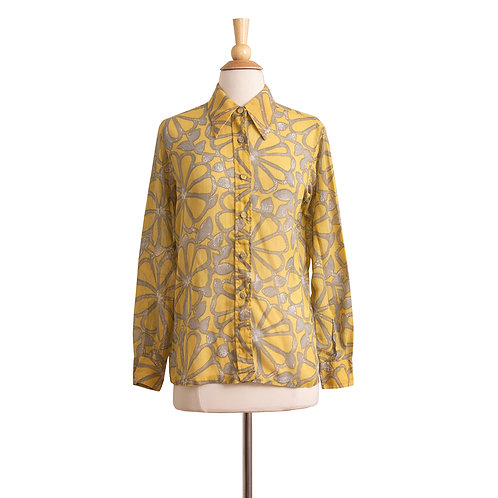 Vintage Christian Dior Yellow and Gray Floral Blouse, Front View