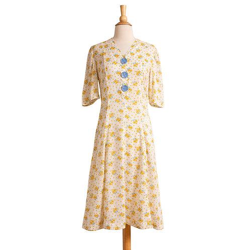 1930s Floral Cotton Day Dress