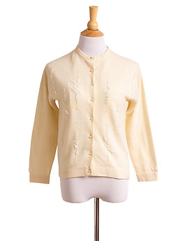 1960s Cream White Beaded Sweater by Ging Loo