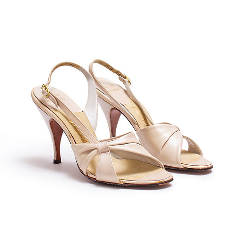 1960s Beige Open Toe Slingback Pumps by Palizzio
