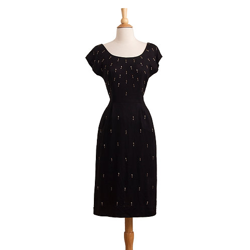 1950s Black Wiggle Dress with Metal Studs front view