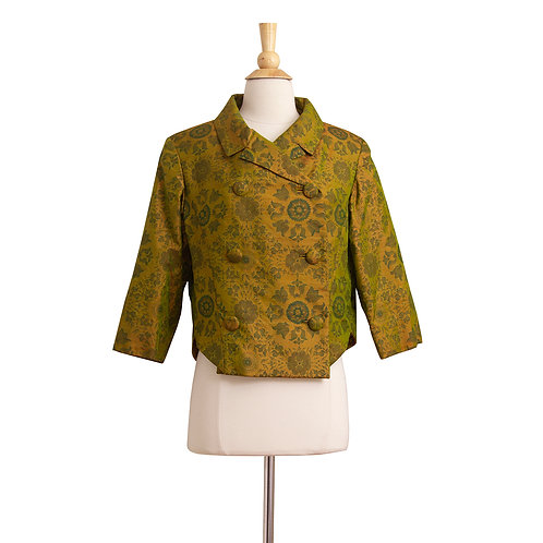 1960s Green and Gold Floral Crop Jacket, Front View