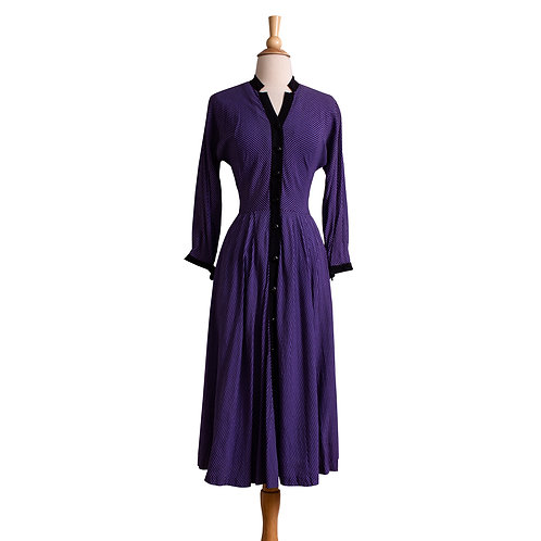 Front View of 1950s Purple and Black Gingham Shirt Dress
