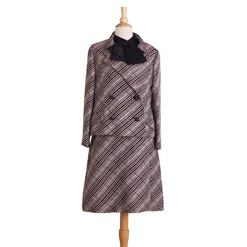 1960s black and brown plaid brocade suit dress front view